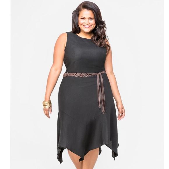 Ashley Stewart Black Linen Dress Plus-Size 28